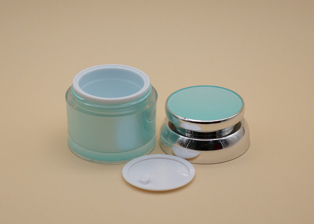 Green UV Spraying Cosmetic Cream Containers PP Cap With ABS Sheathed