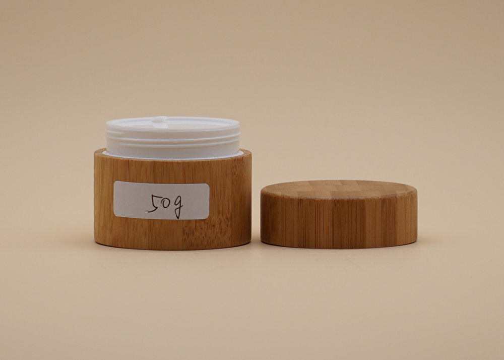 30g 50g Cosmetic Cream Containers With Bamboo Material Outside PP Plastic Inner